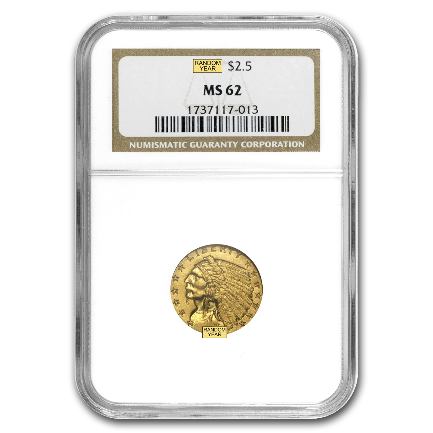 $2.50 Indian Gold Quarter Eagle MS-62 NGC/PCGS